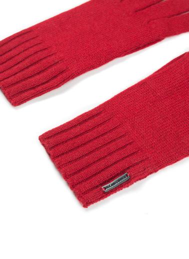 Silk and Cashmere Saf Kaşmir Up Basic Kadın Eldiven Kırmızı
